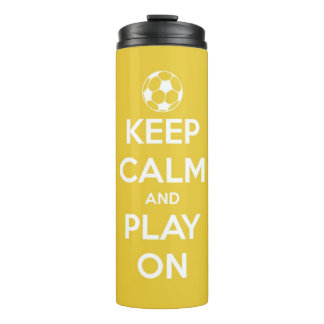Keep Calm and Play On Yellow Personalized Thermal Tumbler