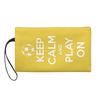 Keep Calm and Play On Yellow Wristlets
