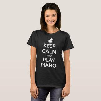 Keep Calm and Play Piano Music Women Black T-Shirt