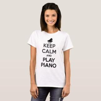 Keep Calm and Play Piano Music Women White T-Shirt