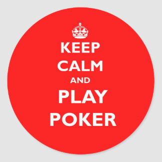 keep calm and play poker symbol british casino classic round sticker