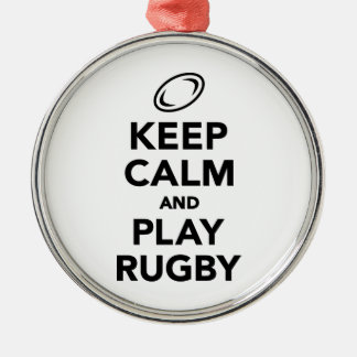 Keep calm and play Rugby Metal Ornament