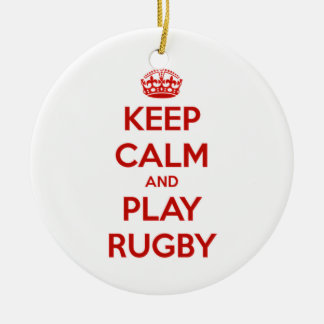Keep Calm And Play Rugby Round Ceramic Decoration