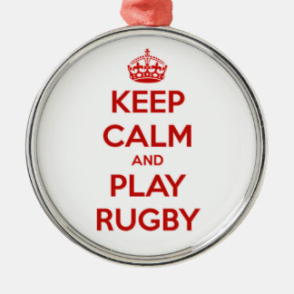 Keep Calm And Play Rugby Silver-Colored Round Decoration