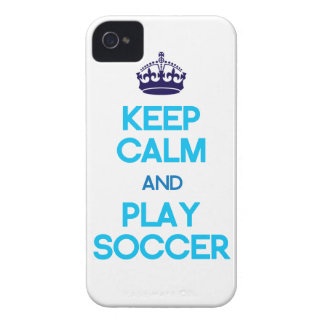 Keep Calm And Play Soccer (Blue) iPhone 4 Cover