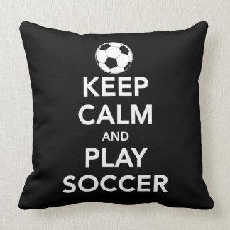 Keep Calm and play Soccer Throw Pillow Cushion