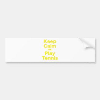 Keep Calm and Play Tennis Car Bumper Sticker