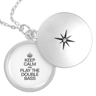 KEEP CALM AND PLAY THE DOUBLE BASS SILVER PLATED NECKLACE