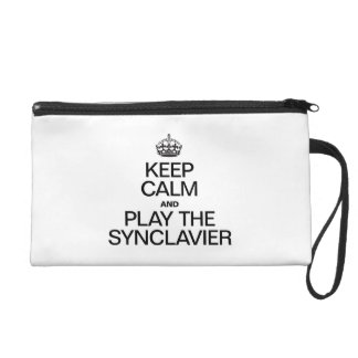KEEP CALM AND PLAY THE SYNCLAVIER WRISTLET PURSES