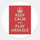 Keep Calm and Play Ukulele Round Sticker