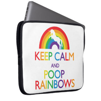 Keep Calm and Poop Rainbows Unicorn Computer Sleeve