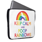 Keep Calm and Poop Rainbows Unicorn Laptop Sleeve