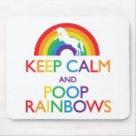 Keep Calm and Poop Rainbows Unicorn Mouse Pad