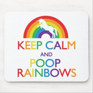 Keep Calm and Poop Rainbows Unicorn Mousepads