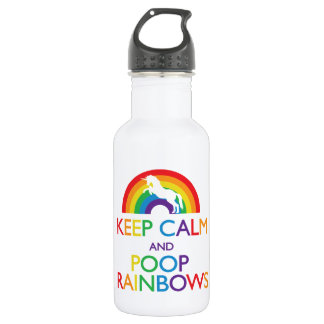 "Keep Calm and Poop Rainbows Unicorn ""Read Below"" 532 Ml Water Bottle"