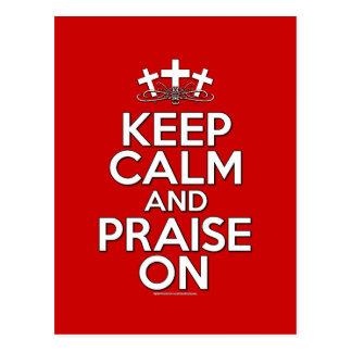 Keep Calm and Praise On Postcard