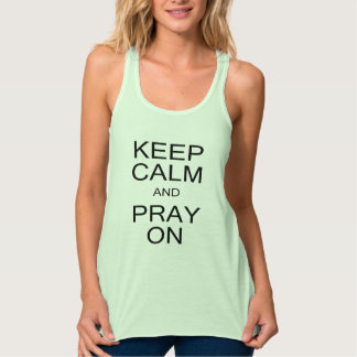 Keep Calm and Pray On Flowy Racerback Tank Top