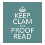 Keep Calm and Proofread (clam) (any colour) Poster