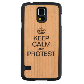 KEEP CALM AND PROTEST CARVED® CHERRY GALAXY S5 SLIM CASE
