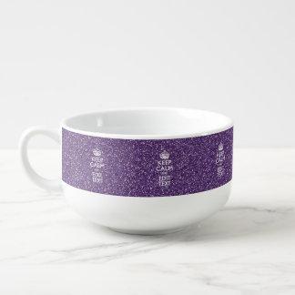 Keep Calm and Purple Mauve Soup Bowl With Handle