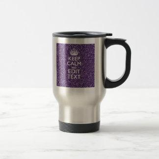 Keep Calm and Purple Mauve Stainless Steel Travel Mug