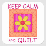 Keep Calm and Quilt Applique Flower Block Square Sticker