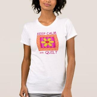 Keep Calm and Quilt Applique Flower Block T-Shirt