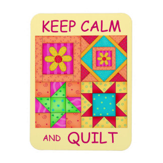 Keep Calm and Quilt Colorful Patchwork Blocks Rectangular Photo Magnet