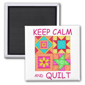 Keep Calm and Quilt Colorful Patchwork Blocks Square Magnet