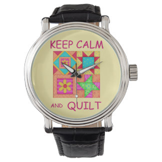 Keep Calm and Quilt Colorful Patchwork Blocks Watch