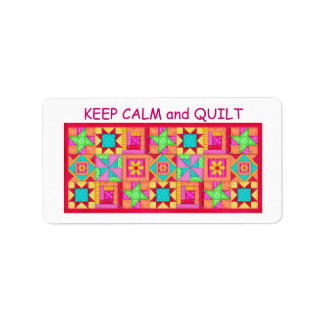 Keep Calm and Quilt Multi Block Patchwork Quilt Address Label