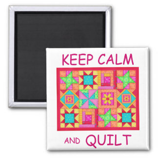 Keep Calm and Quilt Multi Block Patchwork Quilt Square Magnet