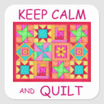 Keep Calm and Quilt Multi Block Patchwork Quilt Square Sticker