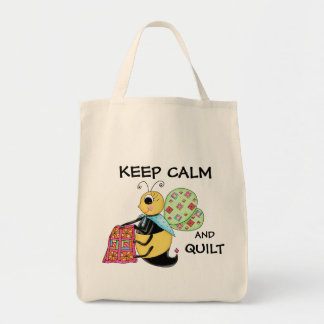 Keep Calm and Quilt Whimsy Honey Bee Art Grocery Tote Bag