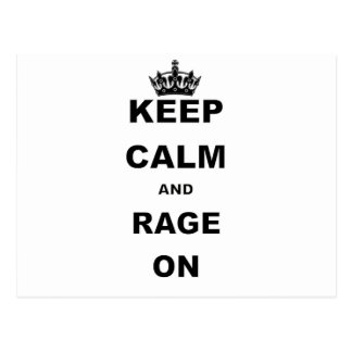 KEEP CALM AND RAGE ON png Postcards