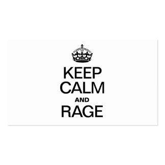 KEEP CALM AND RAGE PACK OF STANDARD BUSINESS CARDS