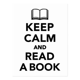 Keep calm and read a book postcard