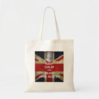 Keep Calm and Read Jane Austen Canvas Bag