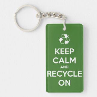 Keep Calm and Recycle On Green Personalized Key Ring