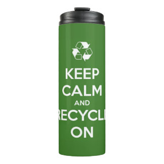 Keep Calm and Recycle On Green Personalized Thermal Tumbler