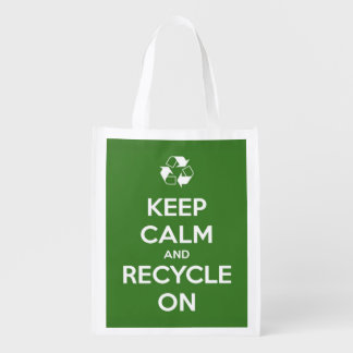 Keep Calm and Recycle On Green Reusable Tote Bag Grocery Bags