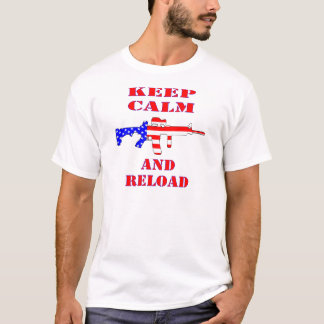 Keep Calm And Reload American Flag Rifle T-Shirt