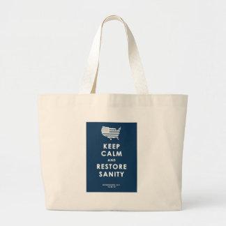 KEEP CALM AND RESTORE SANITY JUMBO TOTE BAG