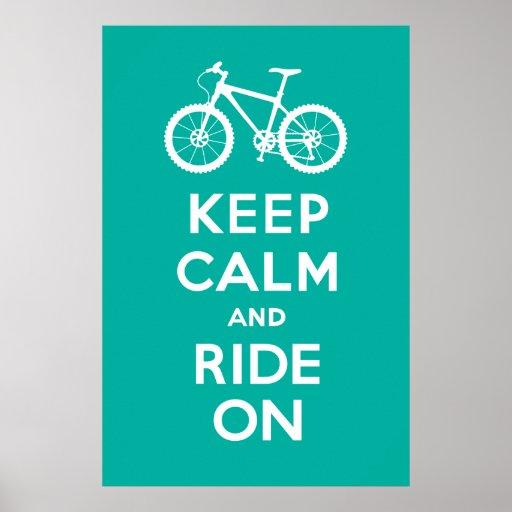 Keep Calm and Ride On - bicycle print - turqoise