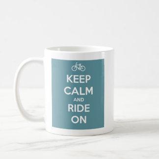 Keep Calm and Ride On Blue Mugs