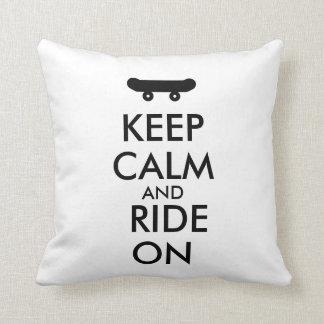 Keep Calm and Ride On Skateboarding Rider Custom Cushions