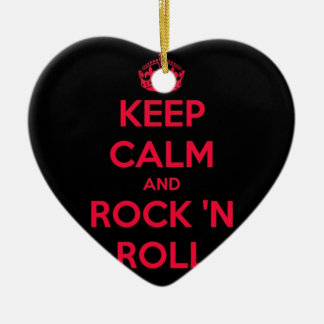 Keep Calm And Rock And Roll Ceramic Ornament