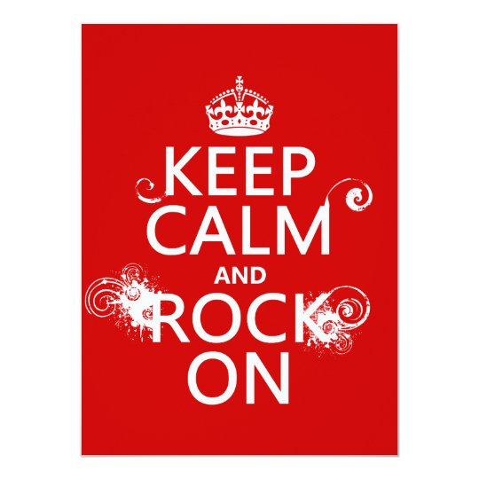 Keep Calm and Rock On (any background colour) Card