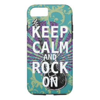 KEEP CALM AND ROCK ON change teal any color iPhone 7 Case