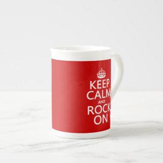 Keep Calm and Rock On (guitar)(any color) Bone China Mug